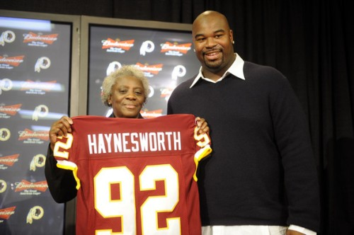 Albert Haynesworth and his mom Linda