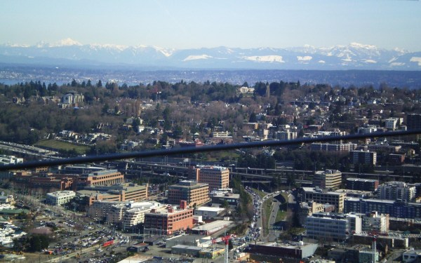 Weekly Photo Challenge: Beyond Seattle from top of the Needle (Mt Rainier in background)