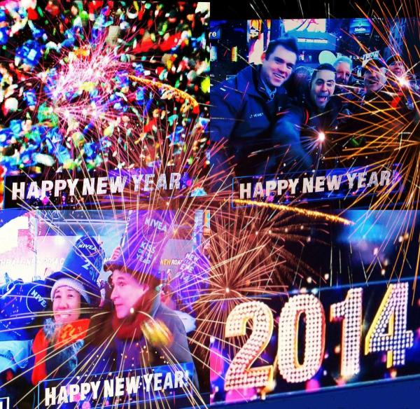 Happy New Year 2014 fireworks and celebrants at Times Square NY