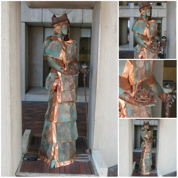 Collage of Bronze Queen sculpture in a park in Copley Square, downtown Boston