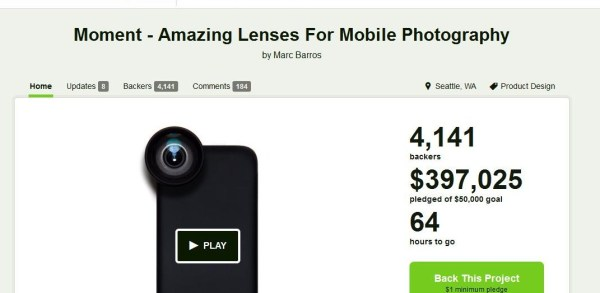 Moment Lens Fundraising Project on KickStarter