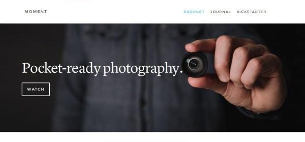 Screen shot of the Moment Lens  website.