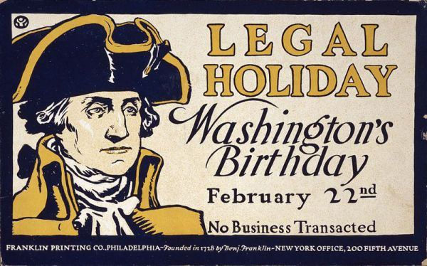 Poster announcing Washington's Birthday
