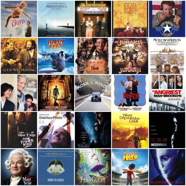 RIP Robin Williams: Gone Too Soon - A collage of some of his popular films