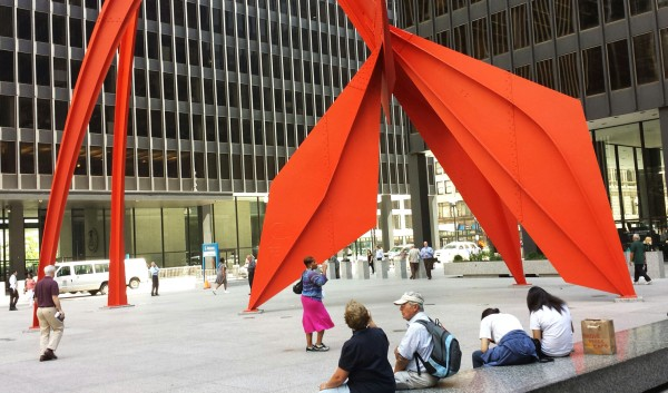 Weekly Photo Challenge: Angular - Flamingo Installation by Alexander Calder in Chicago