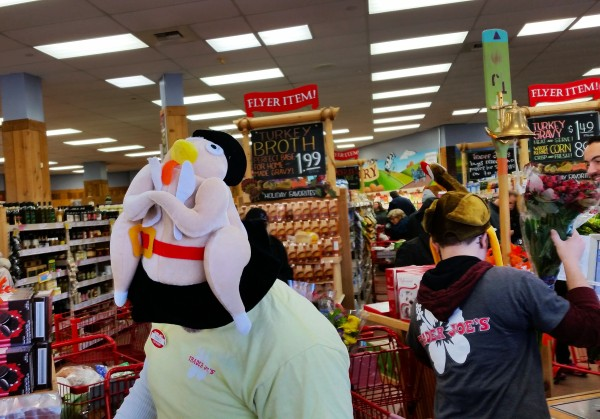Weekly Photo Challenge: Express Yourself! Thanksgiving Turkey hats at Trader Joe's