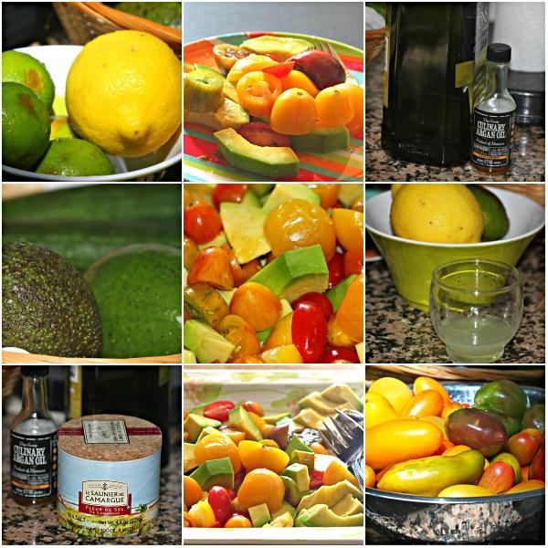 Food Files: Avocado & Heirloom Tomato Salad w/ Argan Oil & Basil Infused Olive Oil