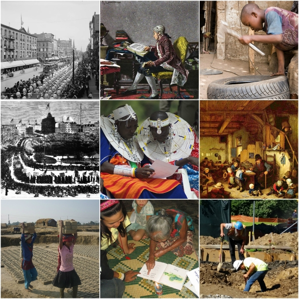 Motivation Mondays: Labor & Literacy - collage of Labor & Literacy photos