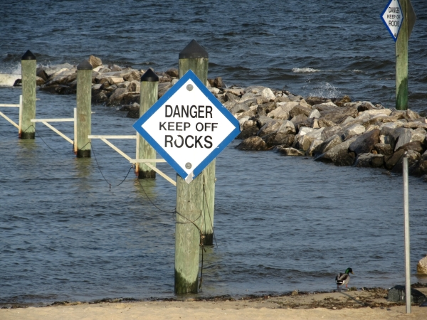 Danger Signs - Chesapeake Bay area in Maryland, USA